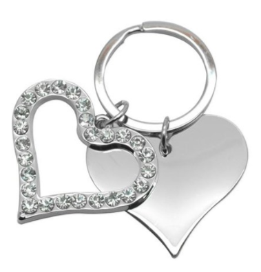 Personalised crystal heart keyring